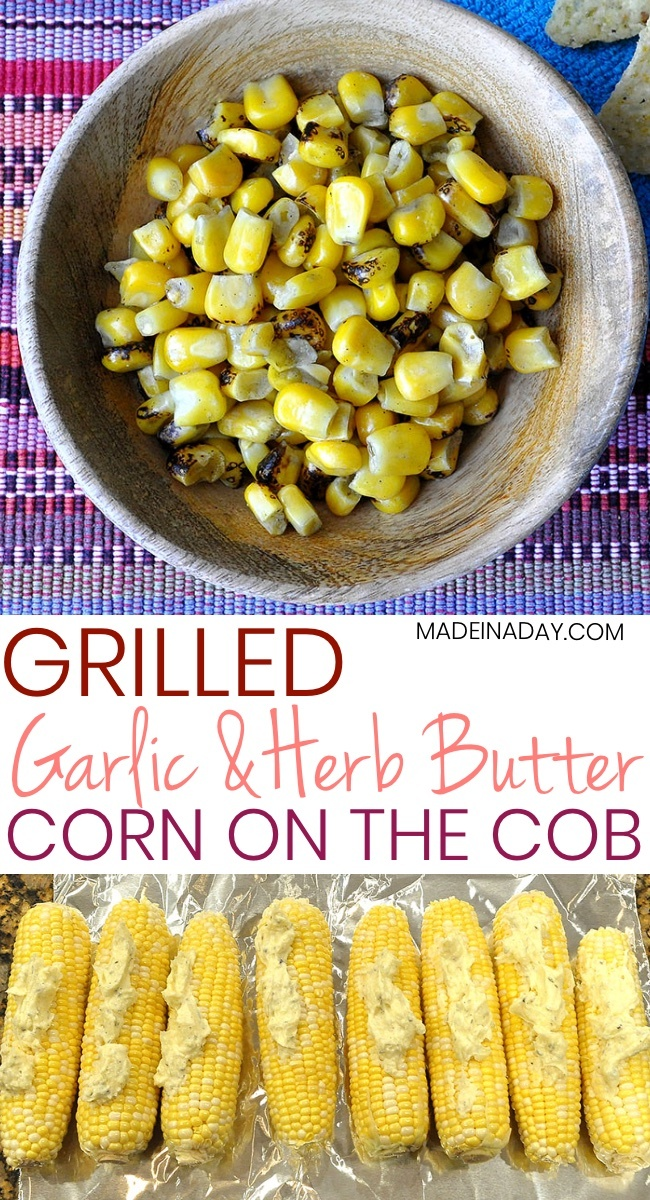 Garlic Herb Butter Grilled Corn on the Cob, garlic & herb butter recipe, grilled corn, foil grilled corn, BBQ corn on the cob, garlic butter corn, #corn #cornonthecob #grilled #recipe