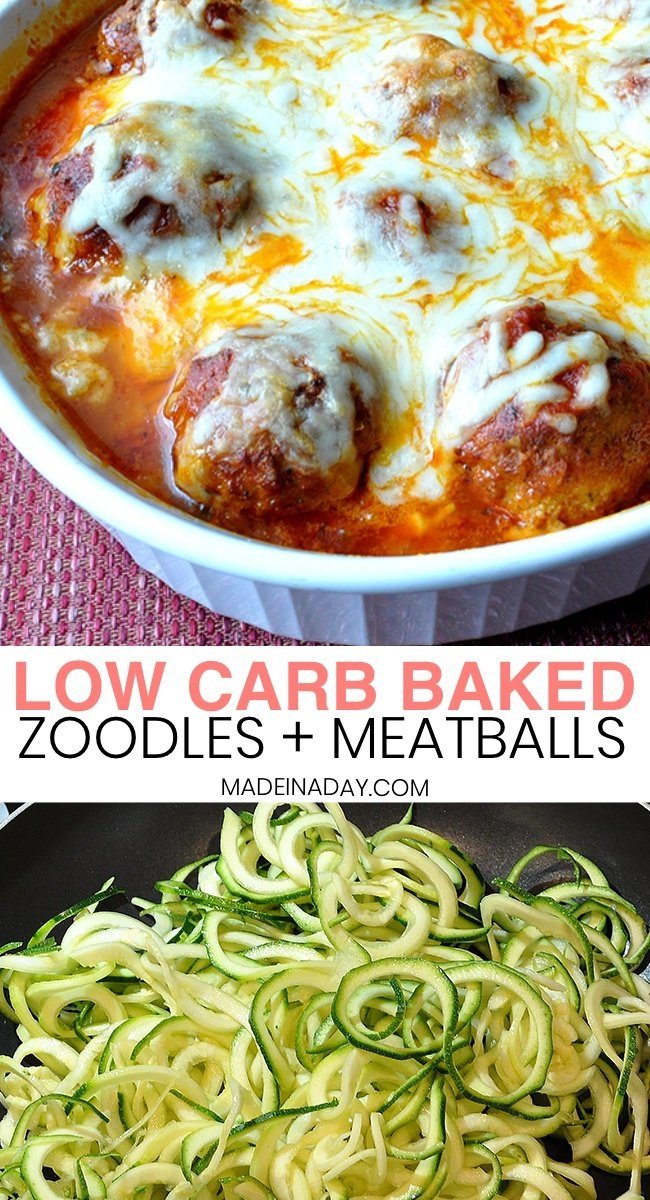 Low Carb Baked Zoodles and Meatballs, baked spiralized zucchini & turkey meatballs, baked zucchini spirals and meatballs, how to make zucchini spaghetti, where to buy zucchini noodles, zucchini spaghetti recipe, zucchini pasta, #zucchini #zoodles #zoodlerecipes #sprialveggierecipe #spiralveggie #meatball #lowcarb #keto