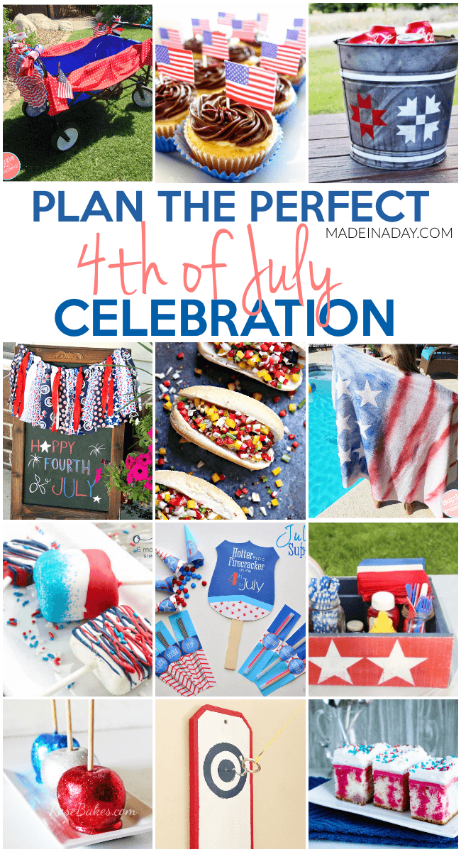 Plan the Perfect 4th of July Celebration, decorate a bike for a parade, poke cake, patriotic scrap rag garland, brats, 4th of July party Printables, ring & hook game, sparkle candy apples and more! #Patriotic #4thofJuly #celebrate #redwhiteblue
