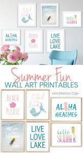 6 Summer Wall Art Printables: Mermaids to Pineapples 1