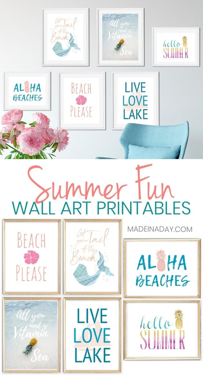 6 Summer Wall Art Printables: Mermaids to Pineapples,