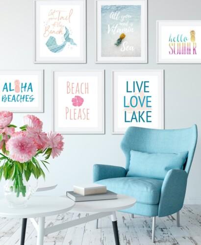 6 Summer Wall Art Printables: Mermaids to Pineapples 39