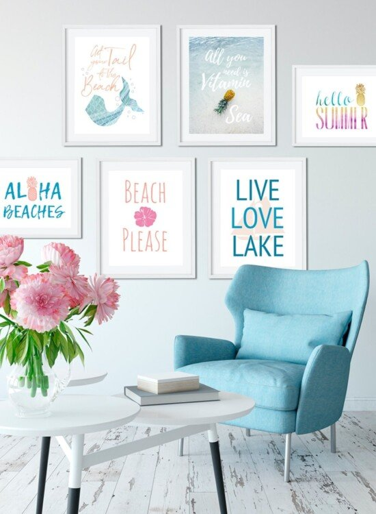 6 Summer Wall Art Printables: Mermaids to Pineapples 7