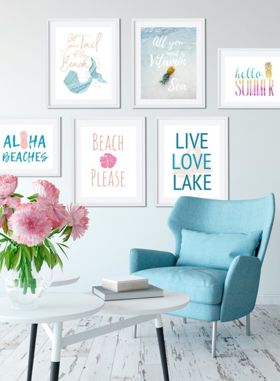 6 Summer Wall Art Printables: Mermaids to Pineapples 4
