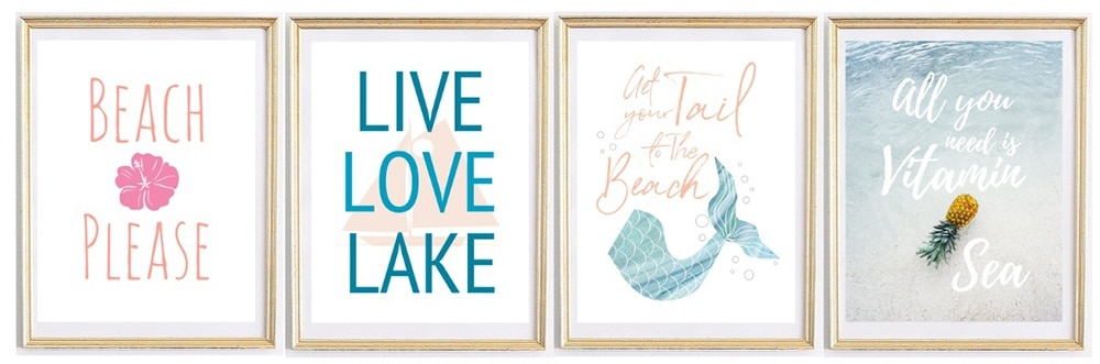 Beach Please, Live Love Lake, Gert Your Tail to the Beach, Vitamin Sea Wall Art