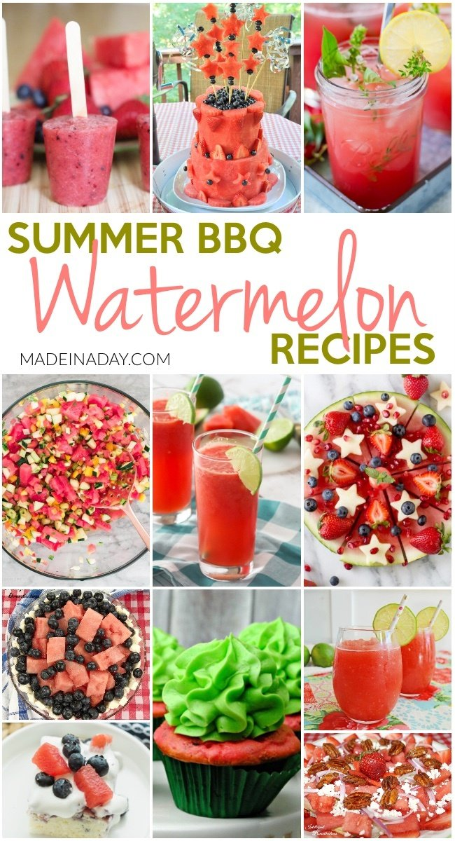 Summer BBQ Watermelon Recipes, Watermelon layer cake, watermelon salad watermelon salsa, watermelon slushies, watermelon popsicles, watermelon sangria, Watermelon poke cake and more! #watermelon #summerrecipes #bbq #cocktial #sangria #watermeloncake