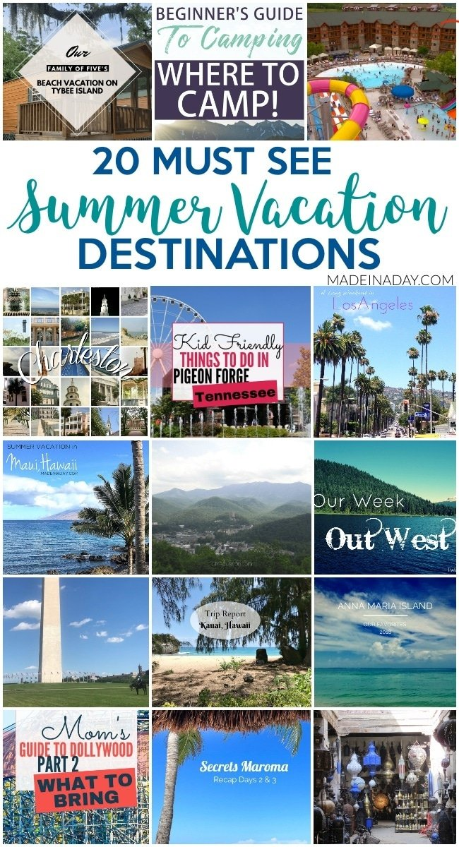 20+ Road Trip Summer Vacation Destinations, Hawaii, Maui, Oregon, Charleston, SC, Dollywood, Secrets Maroma, Los Angelas, CA, Washington DC, Little Tybee Island, Gatlinburg, Pigeon Forge, TN, Camping, and more! #vacation #destination #summervacation #RoadTrip