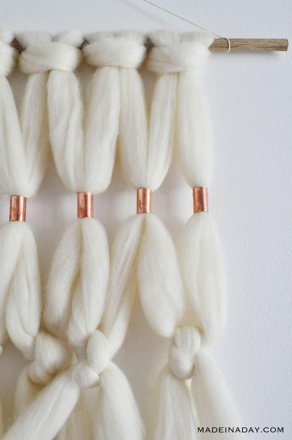 boho wool roving wall hanging