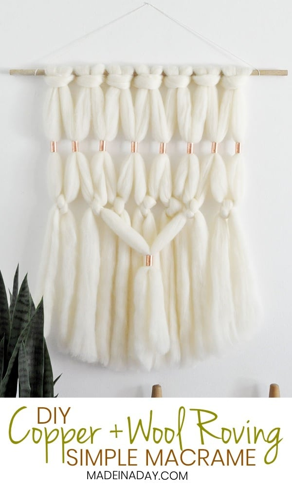 DIY Copper Wool Roving Macrame Wall Hanging, Super simple chunky wool wall art with a big boho impact! Wool roving wall art, Merino wool wall art, faux macrame wall art, simple macrame, DY Wall Art #boho #merinowool #wallart #wallhanging #bohemain #rovingwool #copper #homedecor