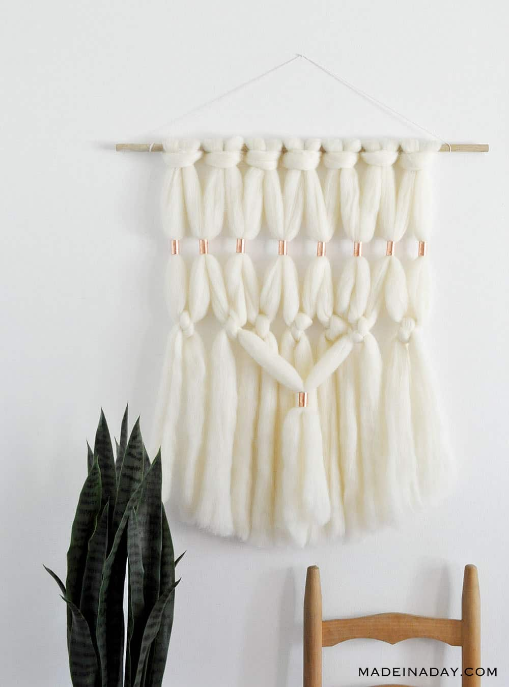 DIY Copper Wool Roving Macrame Wall Hanging