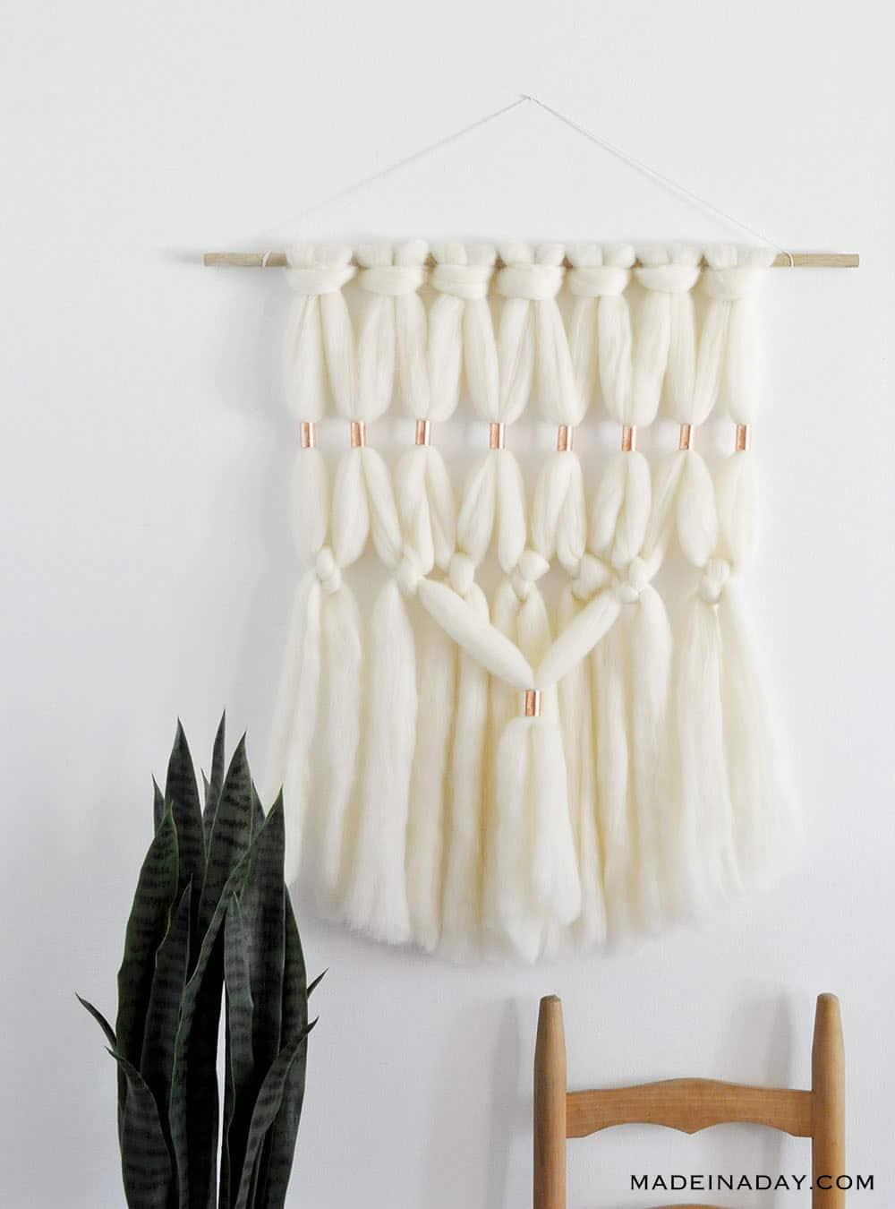 merino wool roving macrame wall hanging wall art, Chunky Wool Wall hanging