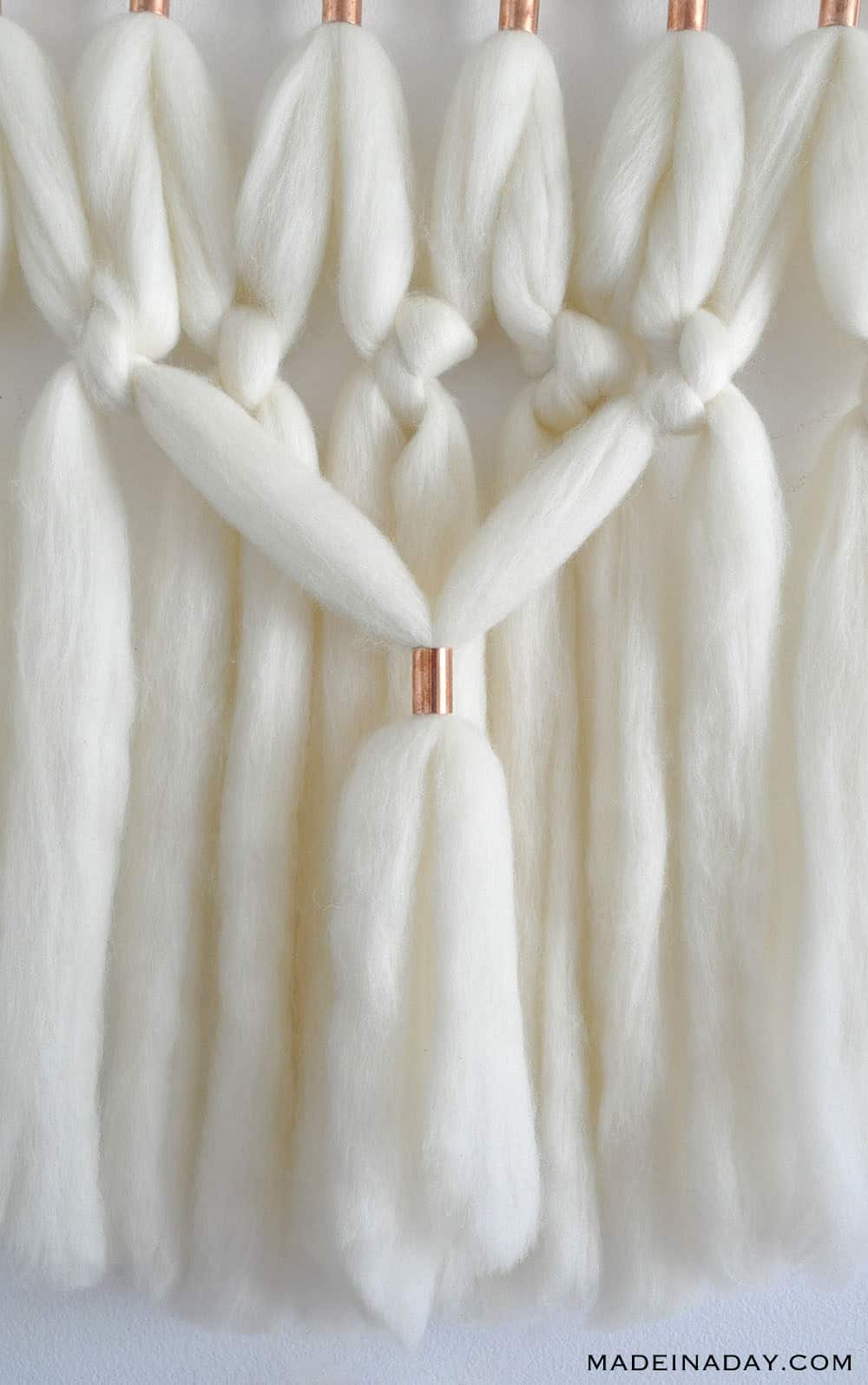 copper bead wool roving wall hanging simple macrame