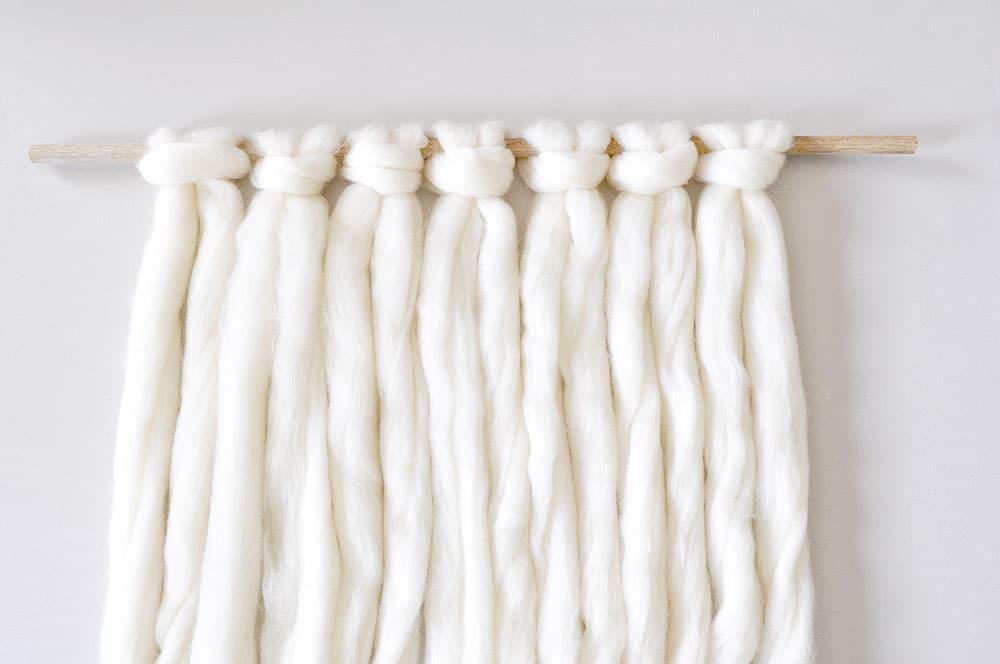 Lark's Head knots wool roving macrame