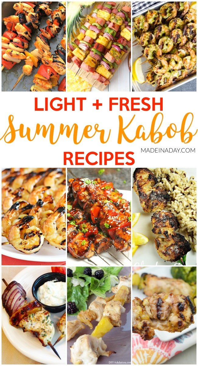 Light + Fresh Summer Kabob Recipes, Yummy summer kabob grilling recipes! Sweet & sour chicken, Hawaiian Ham & Pineapple Kabobs, pomegranate kabob, pesto kabob, chicken skewers, Korean BBQ skewers, #kabob #skewers #summerBBQ #BBQ #grill