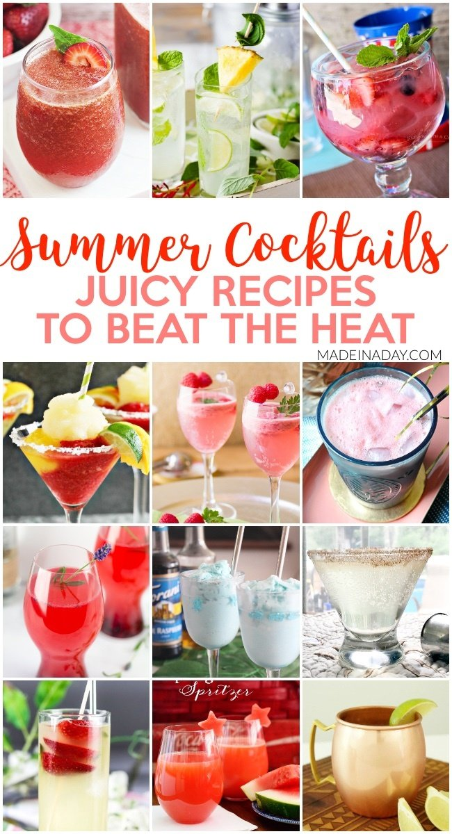 12 Fruity Cocktail Recipes for Summer Entertaining, watermelon margarita, Bahamarita, Mermaid Granita, wine spritzers, daiquiris, moonshine, martinis, Moscow mules and more! #cocktail #summer #entertaining #alcoholicdrink  #daiquiri #margarita #moonshinecocktail