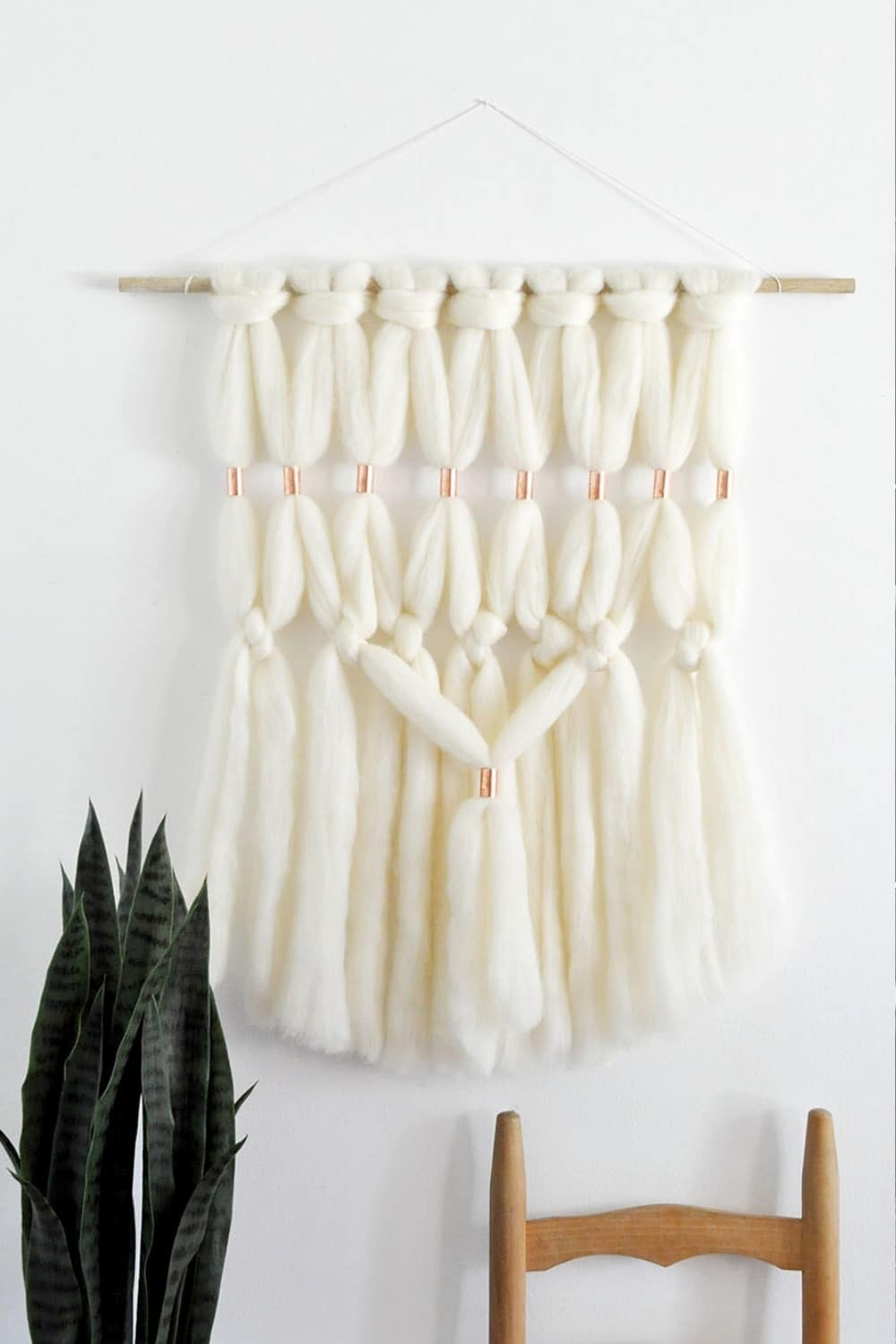 Gorgeous DIY Copper Wool Roving Macrame Wall Hanging 24
