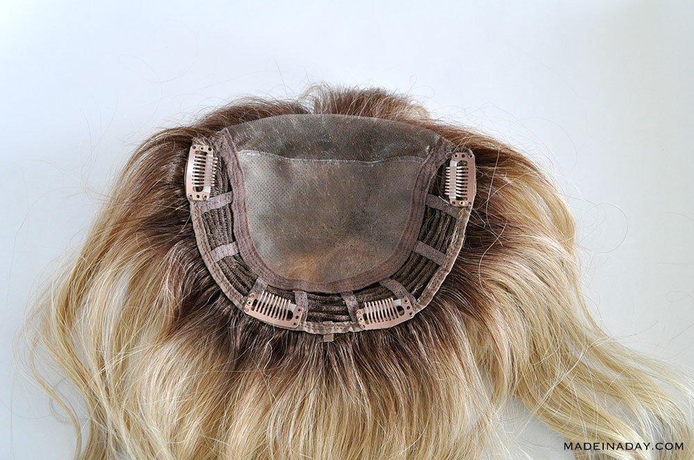 BELLE TRESS MONO TOP LACE FRONT 14 INCH TOPPER IN COLOR HONEY CHAI LATTE