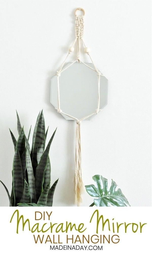 DIY Bohemian Macrame Mirror Wall Hanging, macrame mirror, macrame mirror holder, macrame mirror design, bohemian macrame mirror, boho macrame mirror design, macrame design mirror, #bohemian #mirror #macrame #macramemirror #macramedesign