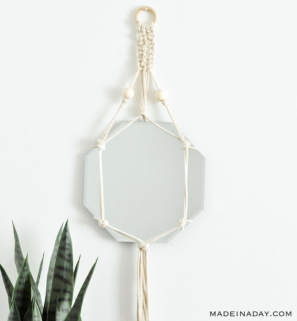Simple Macrame Mirror Technique Design, beaded macrame mirror design, natural macrame mirror