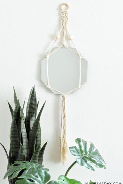 DIY Bohemian Macrame Mirror Wall Hanging