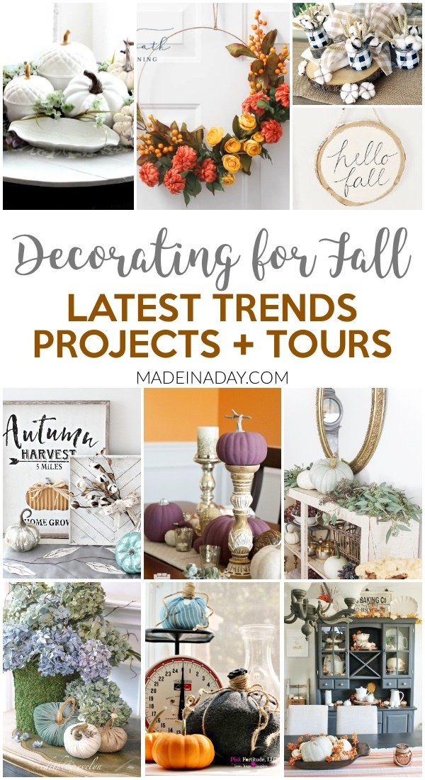 See the Latest Trends in Fall Home Tours + Projects, Fun trends from farmhouse style to rustic and modern glam. Popular projects like hoop wreaths, buffalo check patterns, raw cotton, velvet pumpkins & more! #falldecor #fallprojects #fallDIY #buffalocheck #farmhouse #pumpkin #hoopwreath #hellofall