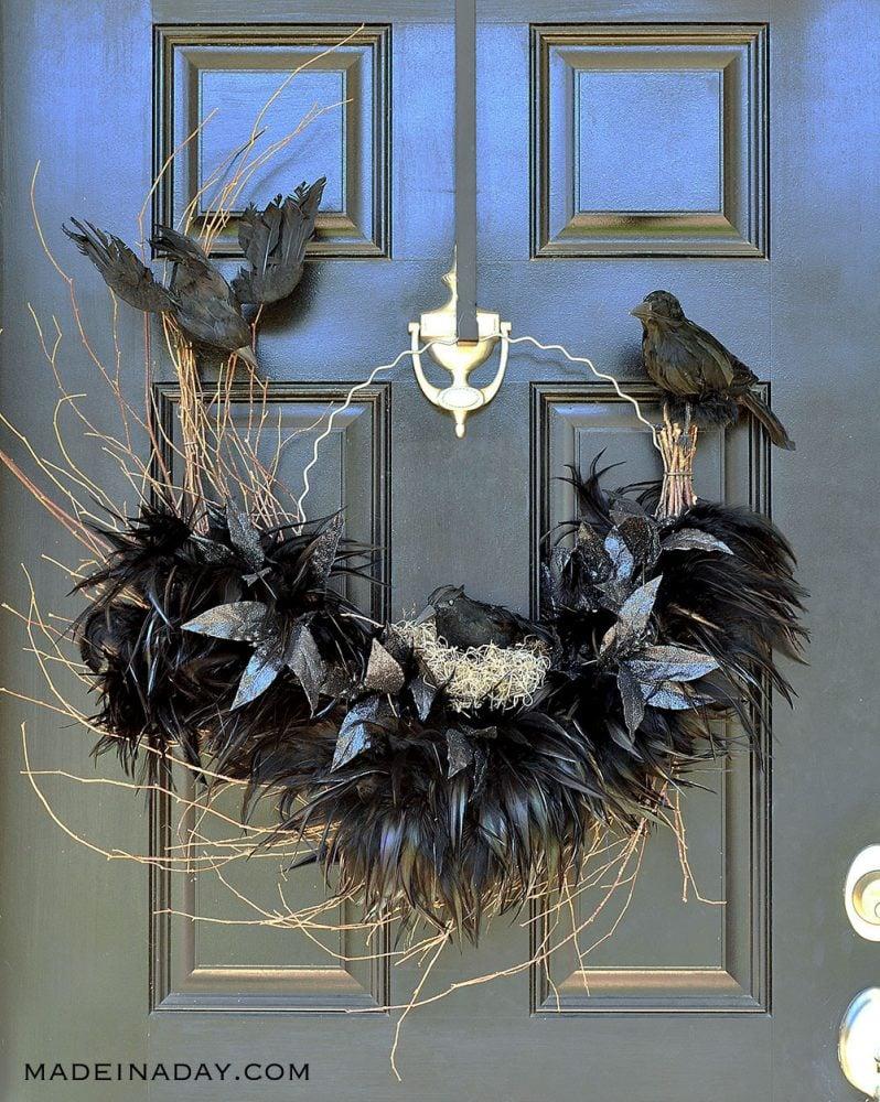 raven crow nest wreath