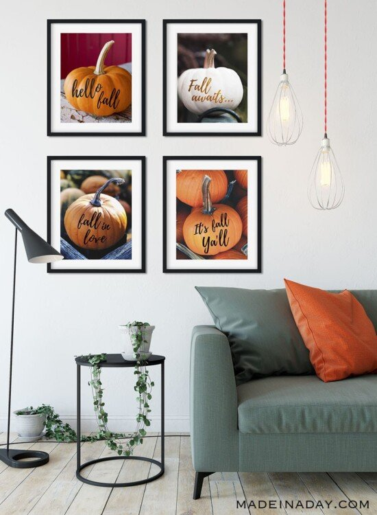 Trendy Fall Pumpkin Wall Art Printables 3