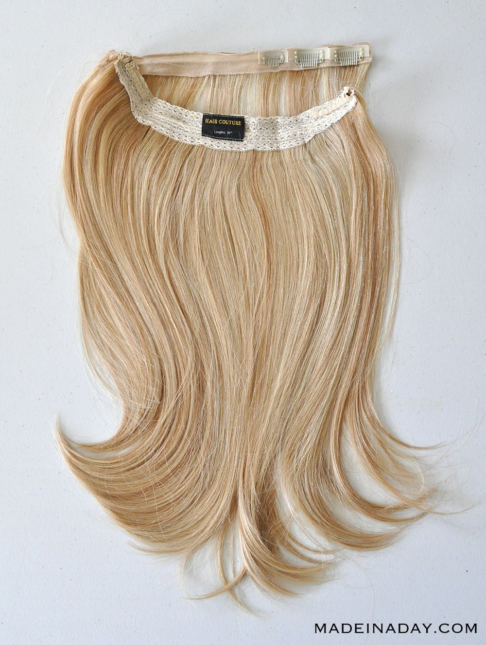 "HAIR COUTURE SMART HAIR 18"" HALO IN CARAMEL BLONDE, adding volume to thin hair with a halo"
