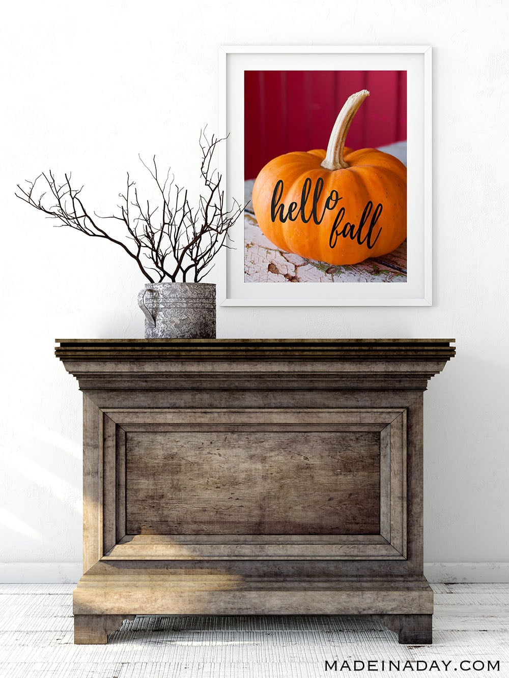 Hello Fall Printable Wall Art, Pumpkin wall art, pumpkin home decor, fall pumpkins