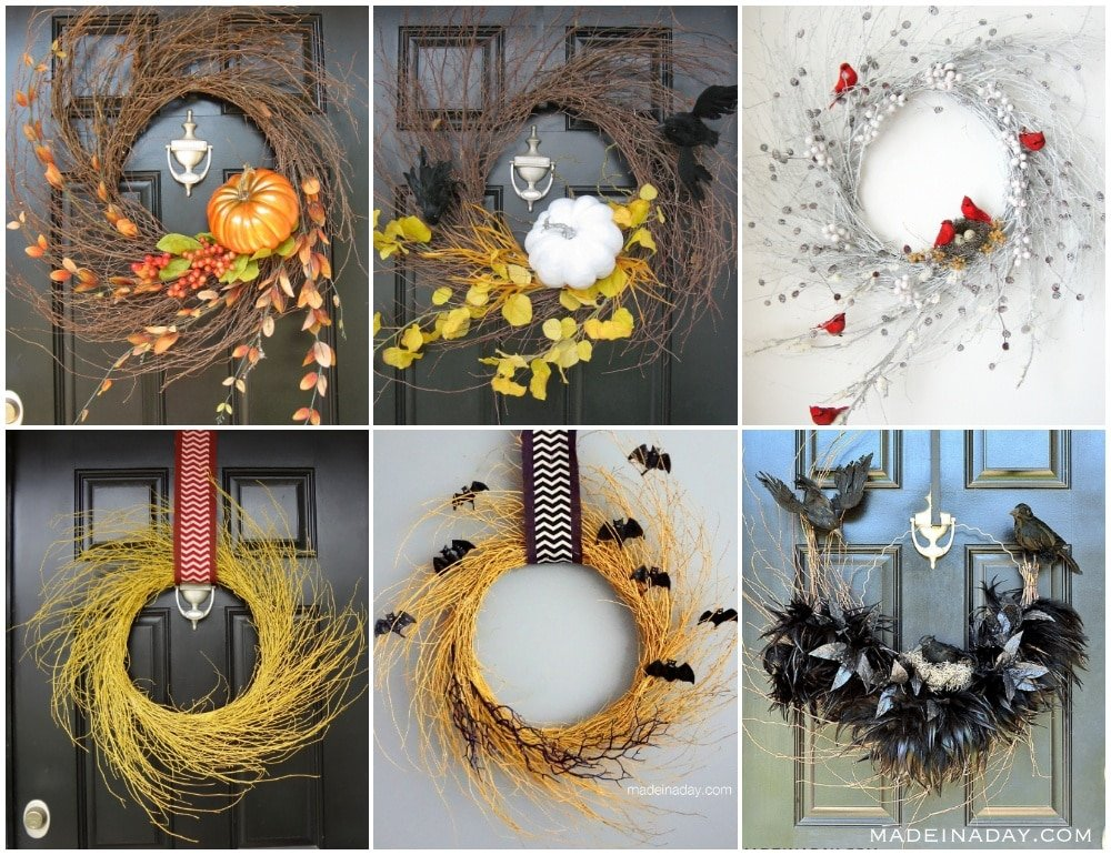 wispy wreaths, interchangeable seasonal wreaths, diy all season wreath, wreath with interchangeable seasons, fall wispy wreath, winter wispy wreath, halloween wispy wreath