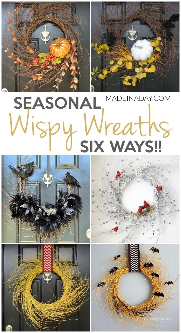 Seasonal Wispy Wreaths: Fall, Halloween & Winter, Pumpkin wispy wreath, Halloween Wispy Wreath, Raven Crow Wispy Wreath, Winter Red Cardinal Wispy Wreath, Harvest yellow Wispy Wreath, Flying Bat Halloween Wispy Wreath #wipsy #wreath #wisoywreath #falldecor #winterdecor #Winter #halloween #harvest #crow #raven #bat #redcardinal #redbird