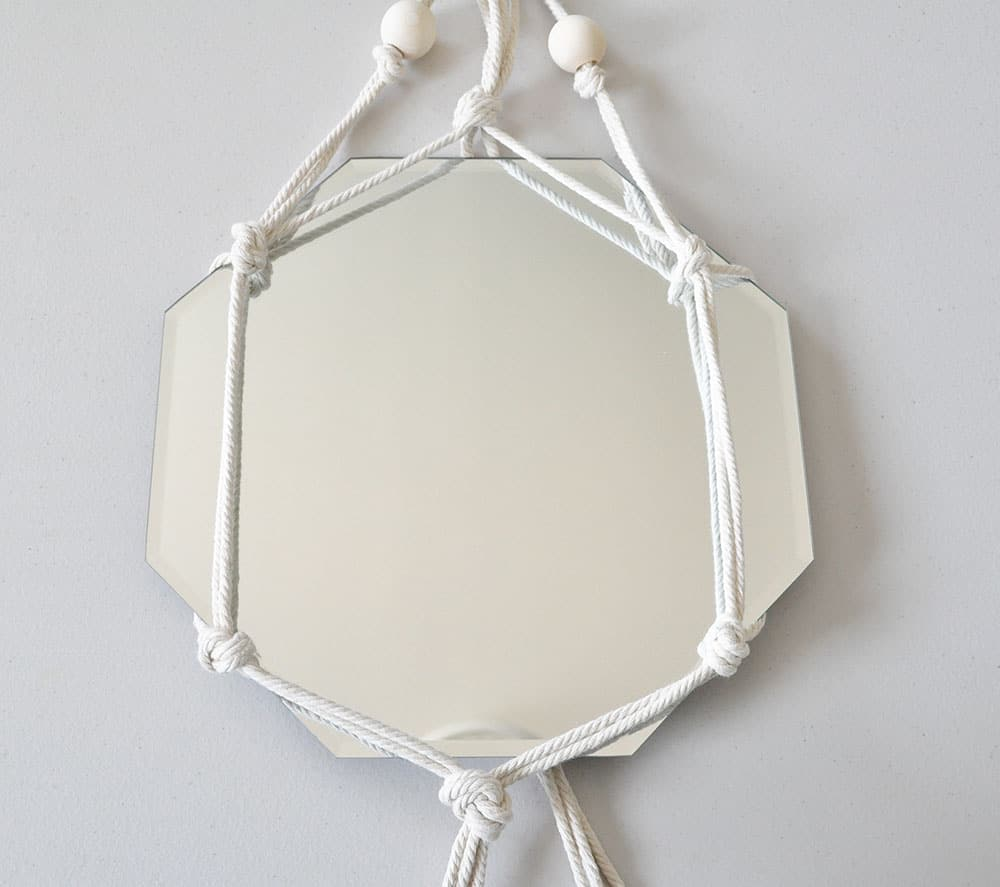 beaded macrame mirror, easy knotted macrame mirror, white macrame mirror