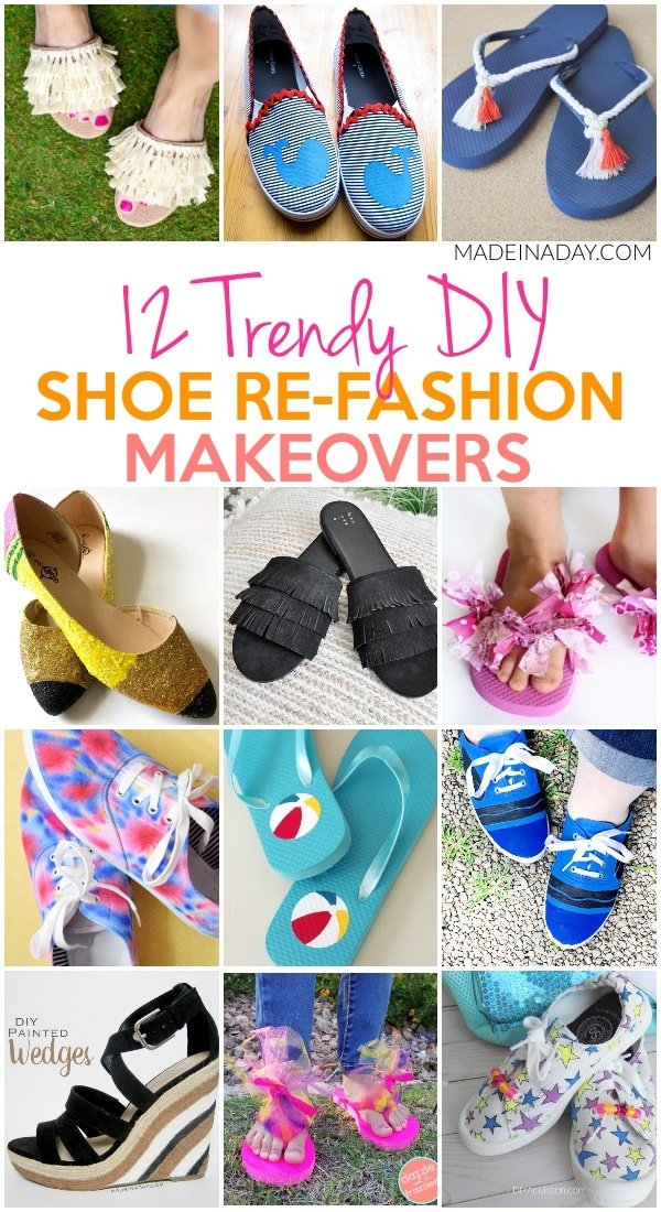 12 Trendy Shoe Refashion Crafty Makeovers! Pencil shoes, crayon shoes, fringe sandals, tie-dye sneakers, Troll shoes, painted wedge sandals, fluffy flip flops, scrap fabric flip flops, Tassels, Wally the Whale boat shoes, vinyl on flip flops #flipflops #crafts #fringe #shoes #sandals #makover #refashion #upcycle #kids