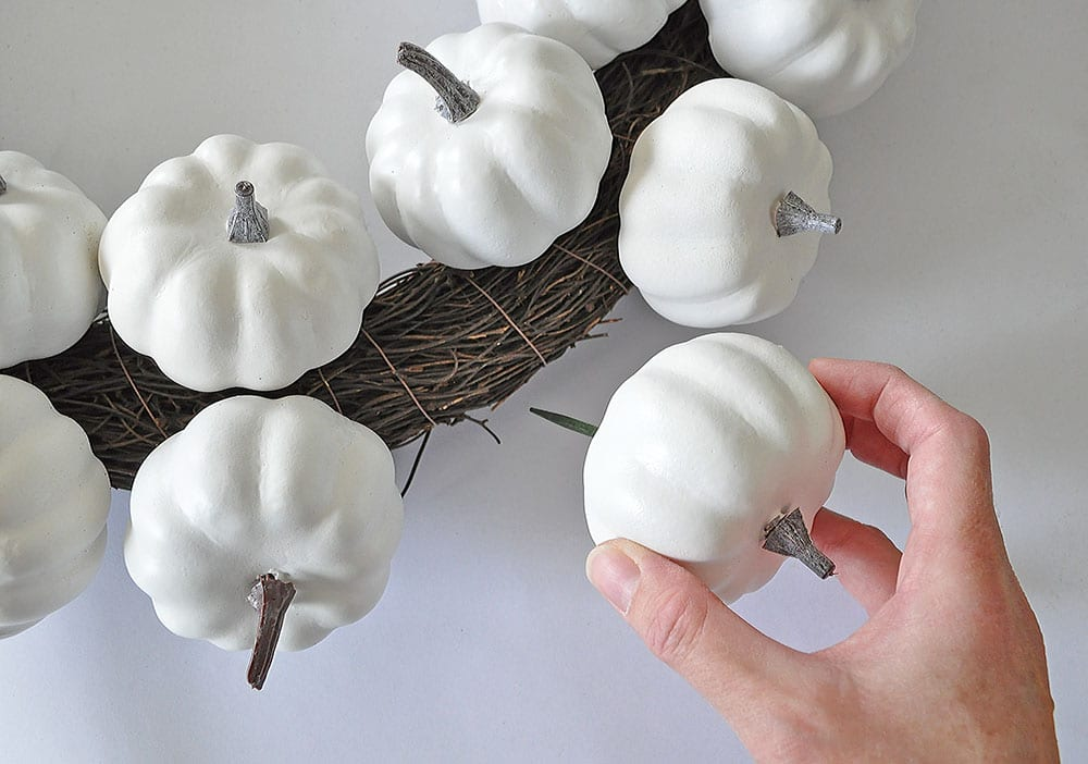 white pumpkin door wreath