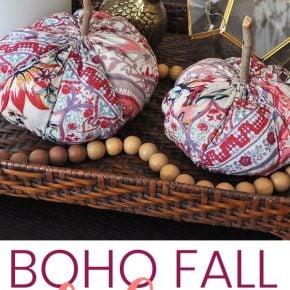 Simple Funky Boho Fabric Pumpkins for Fall 1