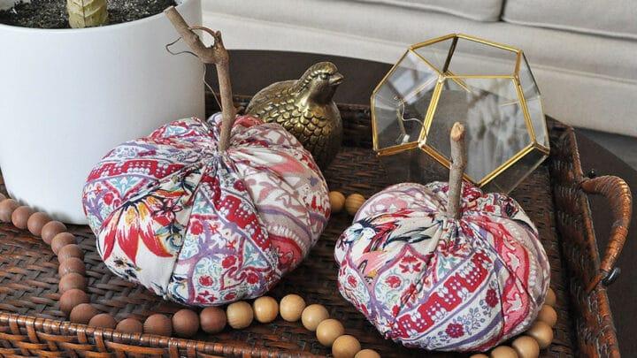 Snakeskin Fabric Feather Pumpkins 13