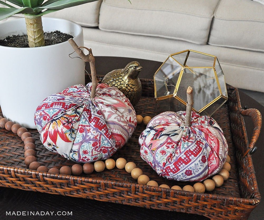 Funky fabric Pumpkins, modern boho fabric pumpkins fall decor