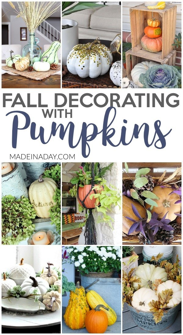 Fall Decorating with Pumpkins Around the Home, Confetti pumpkins, pumpkin tablescape, lighted pumpkins, pumpkin centerpiece, pumpkin plant hanger, pumpkin topiary, vinyl on pumpkins, #pumpkins #pumpkin #centerpiece #tabelscape #fall #fallhomedecor #autumndecor #decorating #vignette
