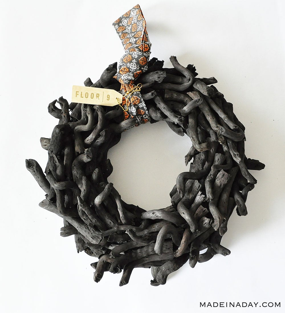 charred driftwood wreath, black wood wreath, burnt wood halloween wreath