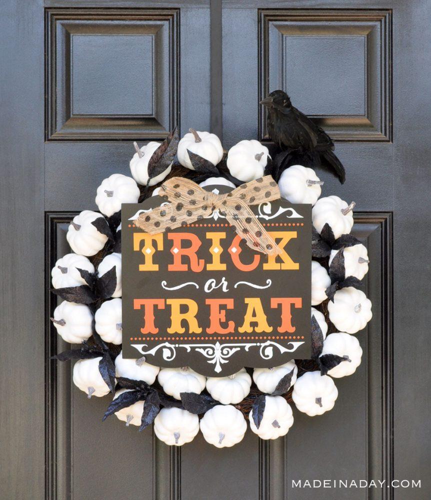 trick or treat white pumpkin wreath