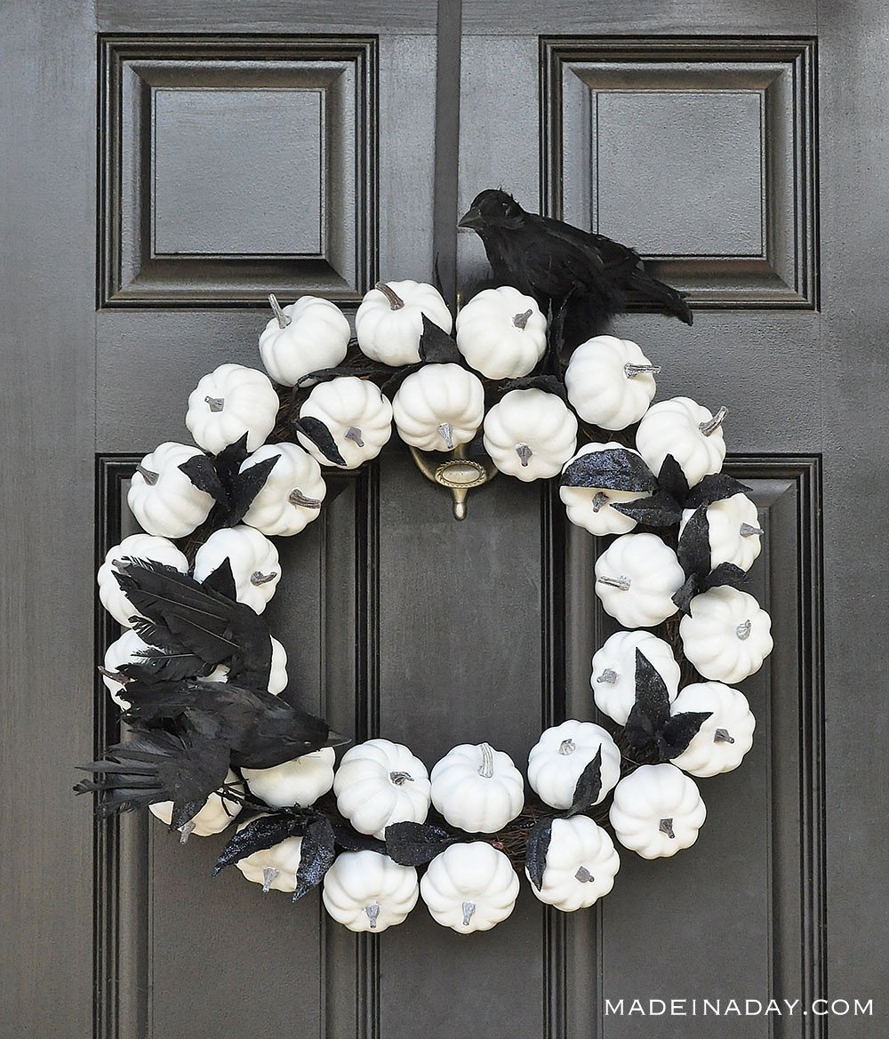 black and white pumpkin wreath