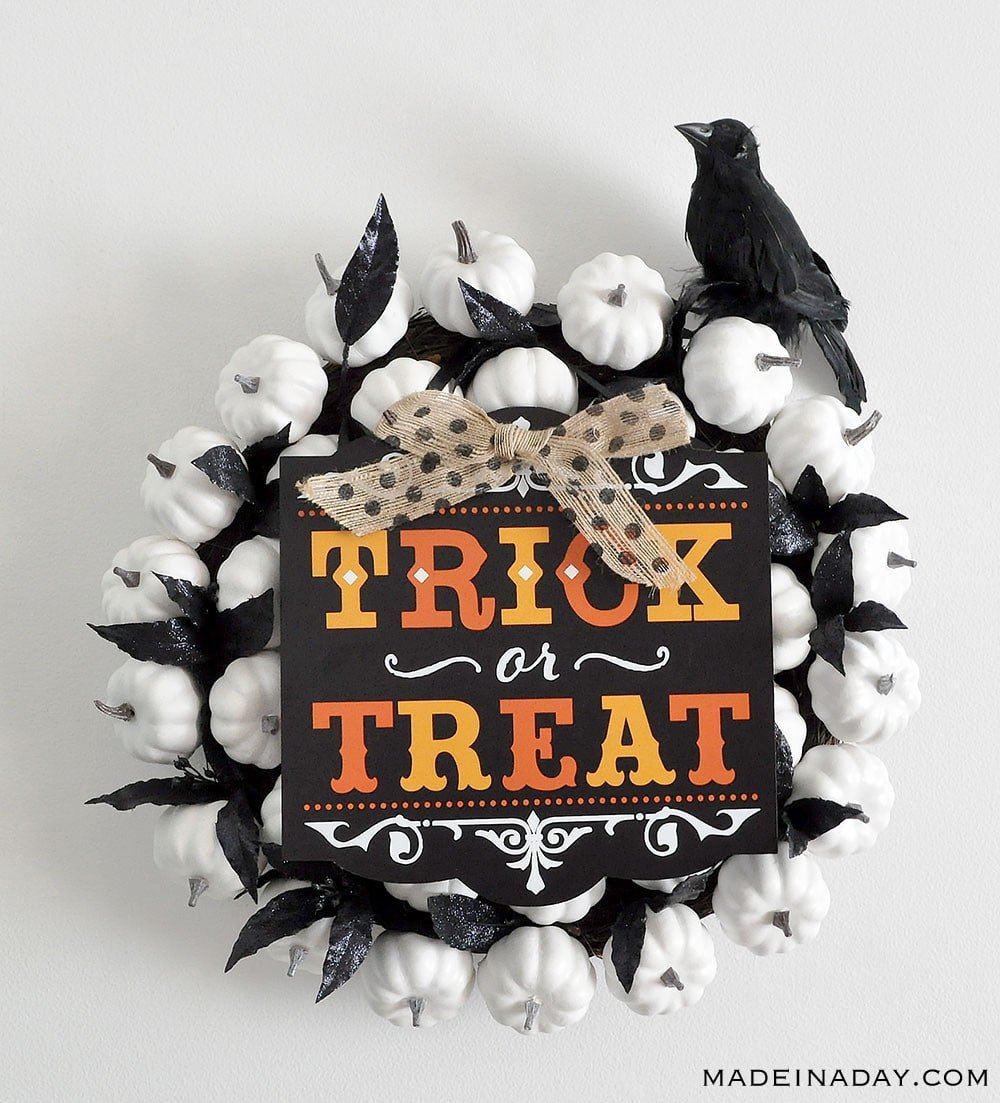 Halloween Sorry Out of Candy White Pumpkin Wreath