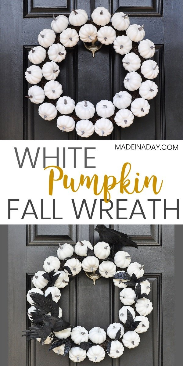 White Pumpkin Wreath for Fall to Halloween, Sorry Out of Candy sign, Trick or Treat Sign, crow wreath, white pumpkin wreath, pumpkin Halloween wreath, #halloween #whitewreath #whitepumpkin #pumpkins #fall #fallwreath #crowwreath #pumpkin #sorryoutofcandy #halloweensigns