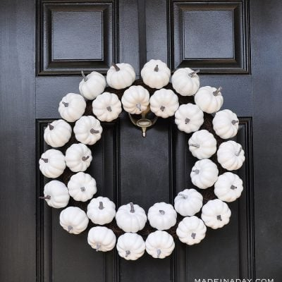 White Pumpkin Wreath for Fall to Halloween