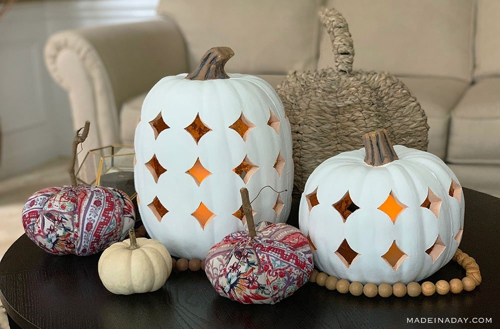 Faux Pumpkin Luminary, White Pumpkin Lantern how to carve a faux pumpkin