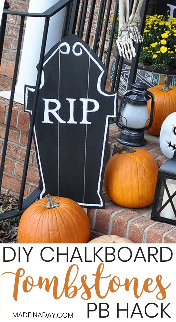 DIY Halloween Chalkboard Tombstones ~PB Hack! Free Tombstone templets for wood or foam! How to make Halloween tombstones, foam tombstones, Halloween yard decorations, wood tombstones, Halloween decor tombstones, Halloween graveyard, pottery barn tombstones, Chalkboard PB knock-off tombstones, PB copycat, #halloween #halloweendecor #halloweentombstones #graveyard #DIYHalloween
