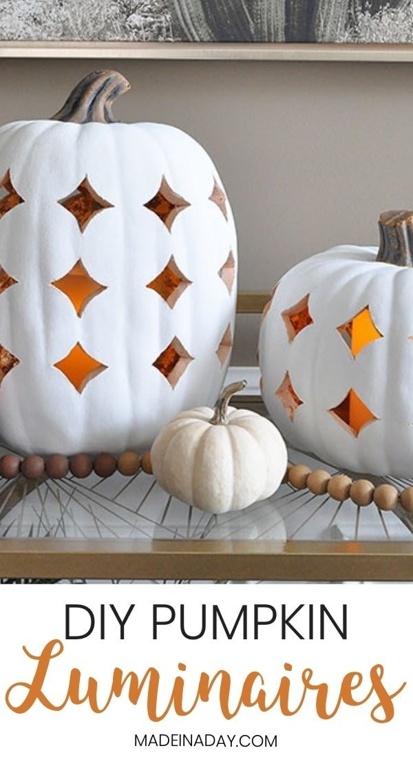 Shimmering Boho Pumpkin Luminaries, pumpkin lanterns, pumpkin, faux ceramic pumpkin, filigree pumpkin, carve a faux pumpkin, how to carve foam pumpkins, white pumpkin lantern, faux clay pumpkin luminary, #pumpkin #fallpumpkin #whitepumpkin #falldecor #fall #lantern #luminary #pumpkincarving #faux #boho #bohemian #modernboho #modernbohemian