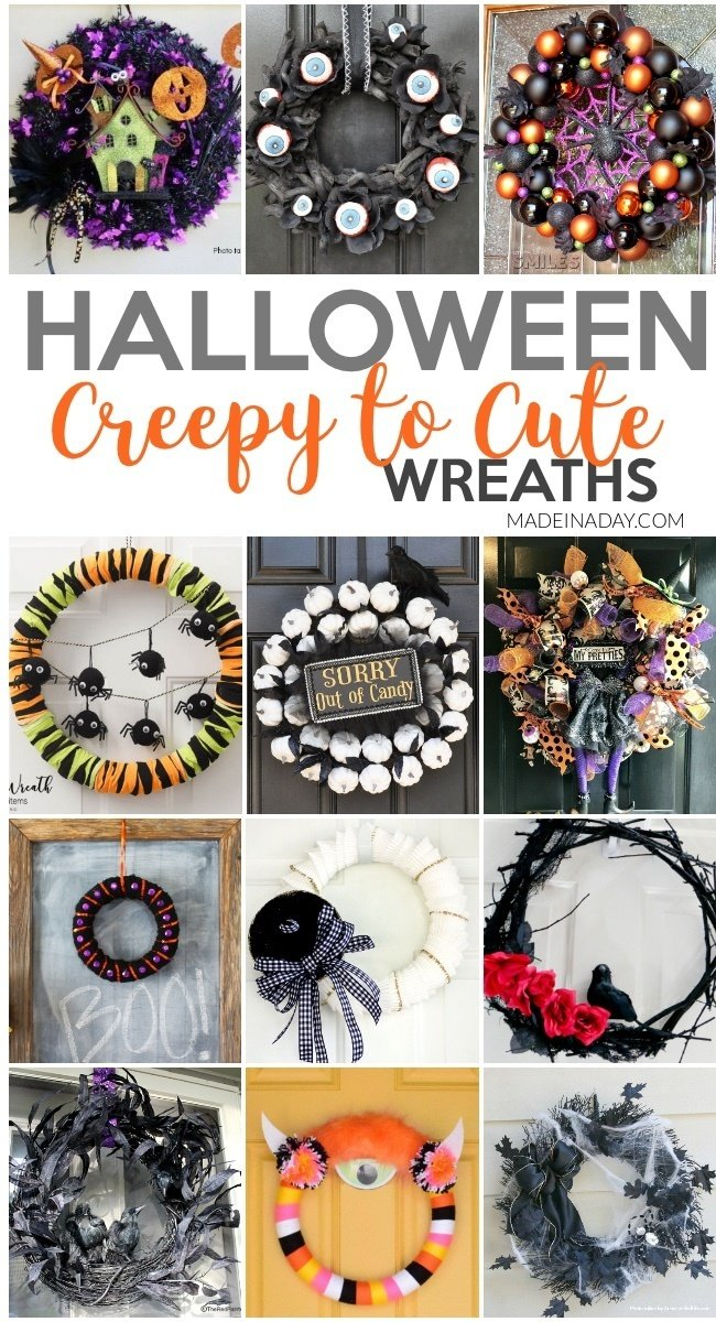Creepy to Cute Halloween Wreath Trends, Halloween wreath, spider wreath, haunted house wreath, eyeball wreath, witch wreath, raven wreath, crow wreath, monster wreath, witch hat wreath, white pumpkin wreath, Sorry out of Candy wreath, #hauntedhouse #halloweenwreath #witchwreath #black #crow #raven #eyeballwreath #pumpkinwreath