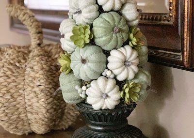 Stunning Fall Pumpkin Topiary Centerpiece 17