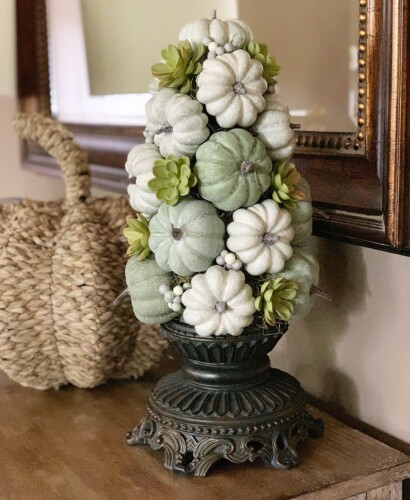 Stunning Fall Pumpkin Topiary Centerpiece 2